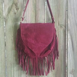 Burgandy Fringe Crossbody Purse